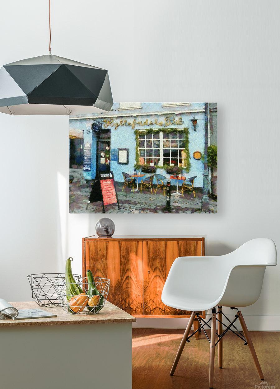 Blue Cafe Copenhagen  HD Metal print with Floating Frame on Back