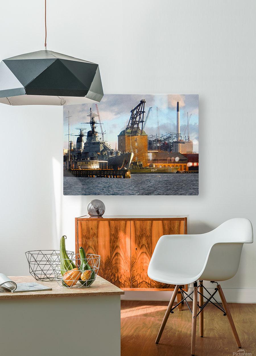 Ships at Holmen  HD Metal print with Floating Frame on Back