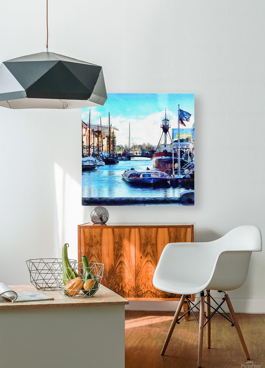 Looking Along Nyhavn Harbour Denmark  HD Metal print with Floating Frame on Back