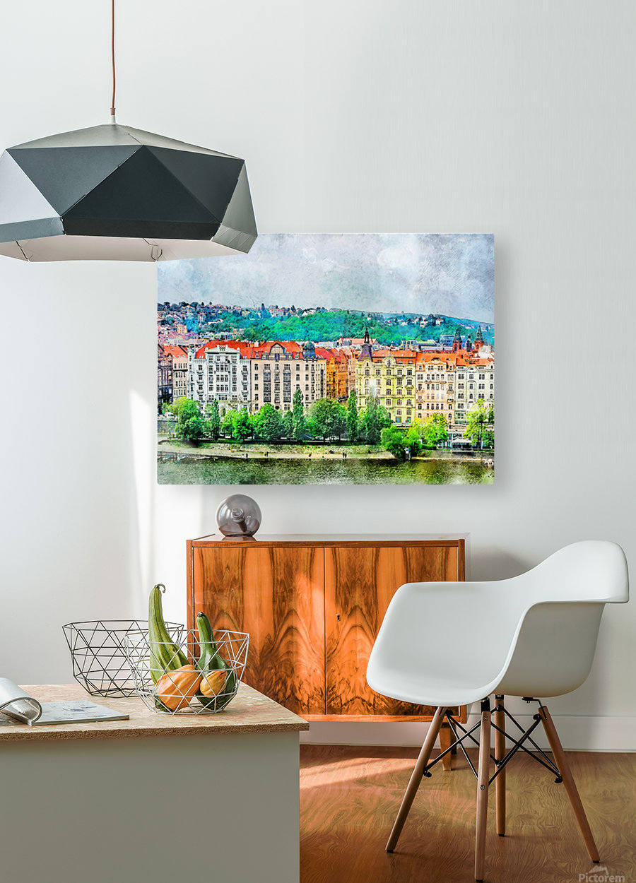 Praha city art  HD Metal print with Floating Frame on Back
