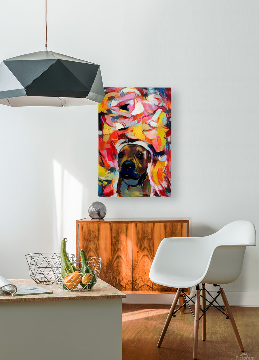 Dog Painting (10)  HD Metal print with Floating Frame on Back