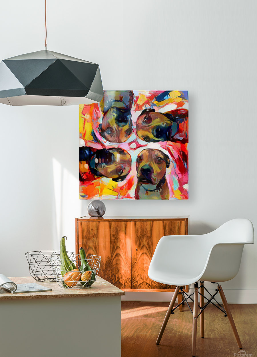 Dog Painting (8)  HD Metal print with Floating Frame on Back