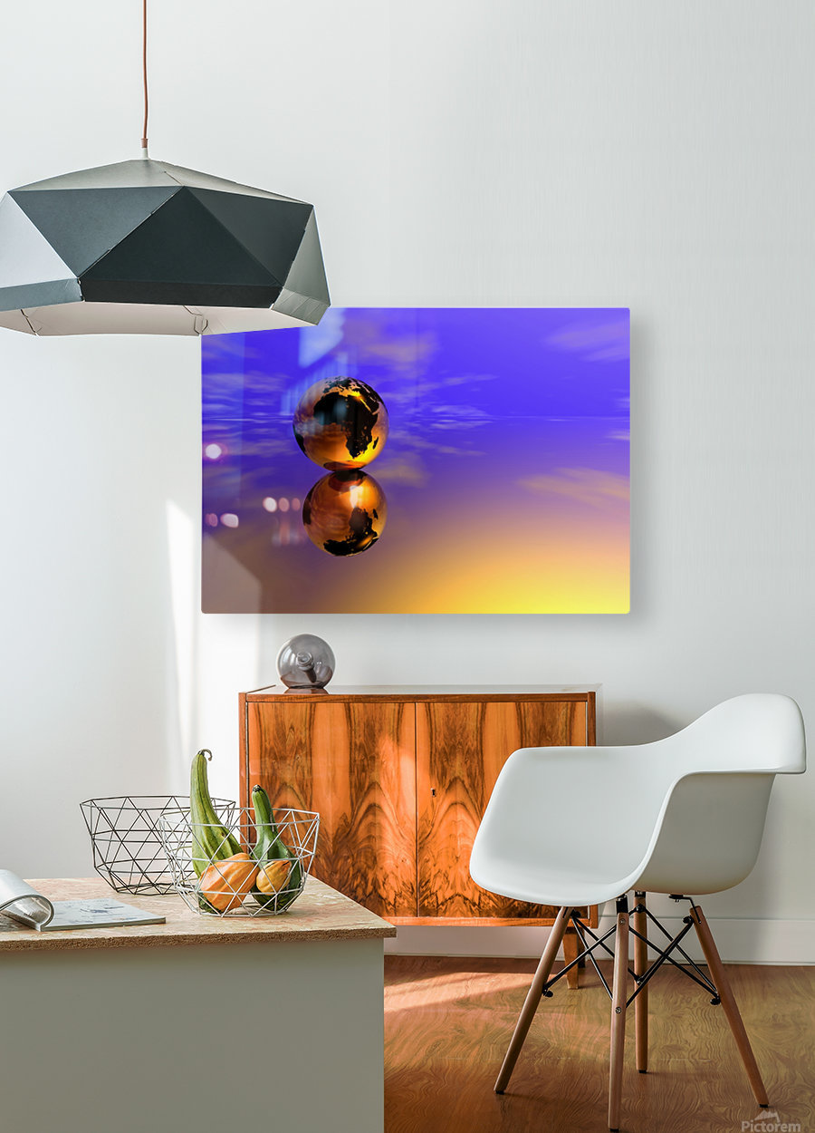 Golden Earth  HD Metal print with Floating Frame on Back