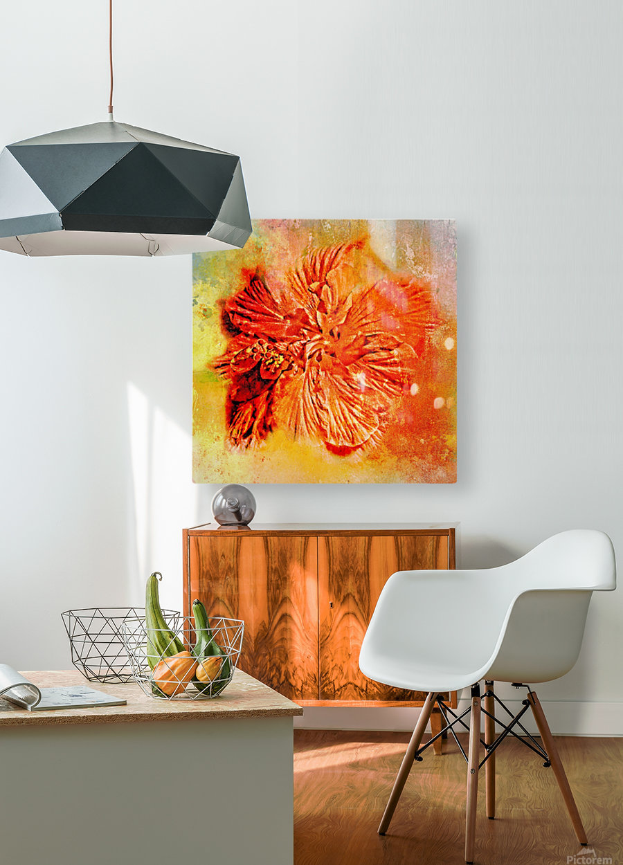 Tropical Hibiscus Floral  HD Metal print with Floating Frame on Back