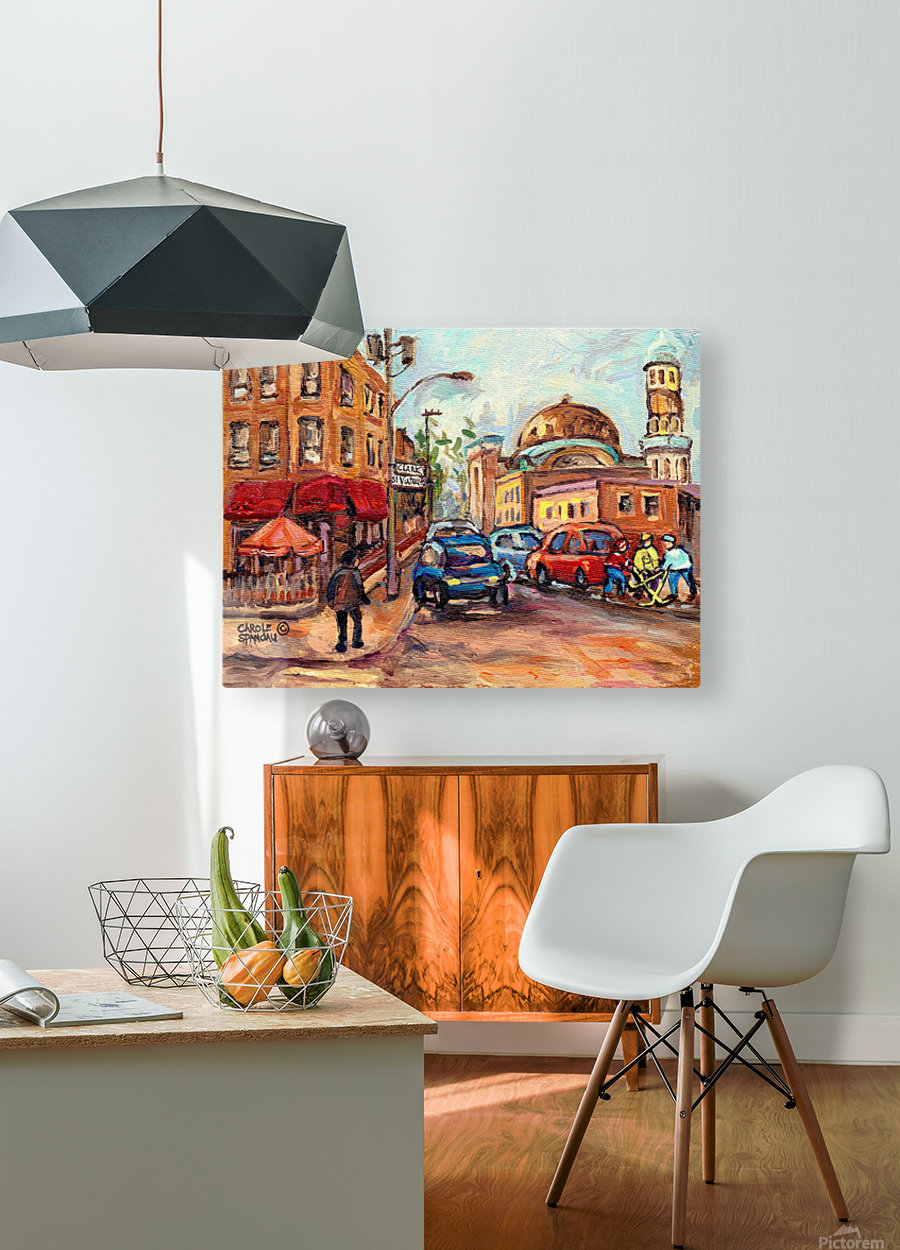 RUE ST VIATEUR NEAR CLARK MONTREAL PAINTING WINTER SCENE WITH HOCKEY  HD Metal print with Floating Frame on Back