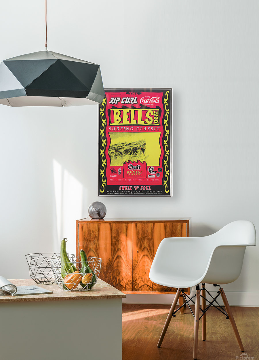 1990 RIP CURL BELLS BEACH EASTER Surfing Championship Competition Print - Surfing Poster  HD Metal print with Floating Frame on Back