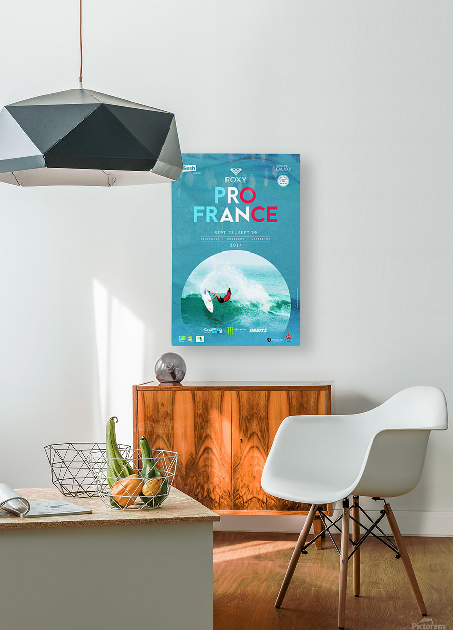 2014 ROXY PRO FRANCE Surfing Competition Poster  HD Metal print with Floating Frame on Back