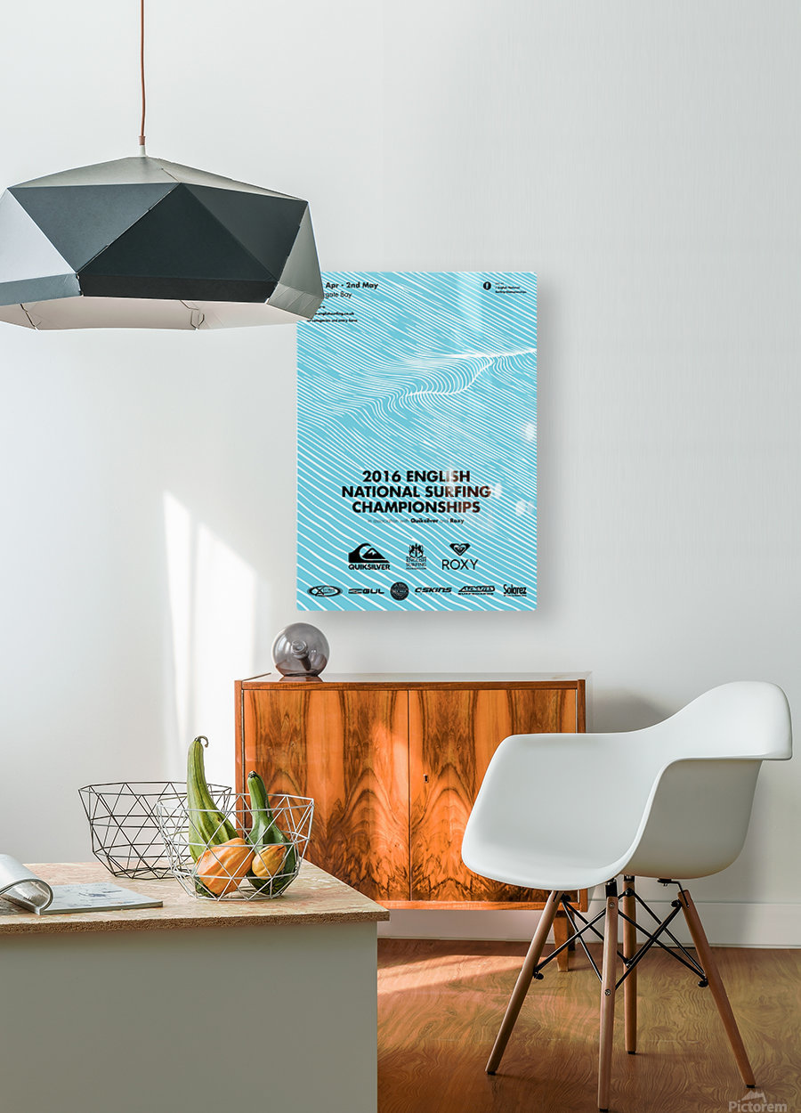 2016 ENGLISH NATIONAL SURFING Tournament Poster  HD Metal print with Floating Frame on Back