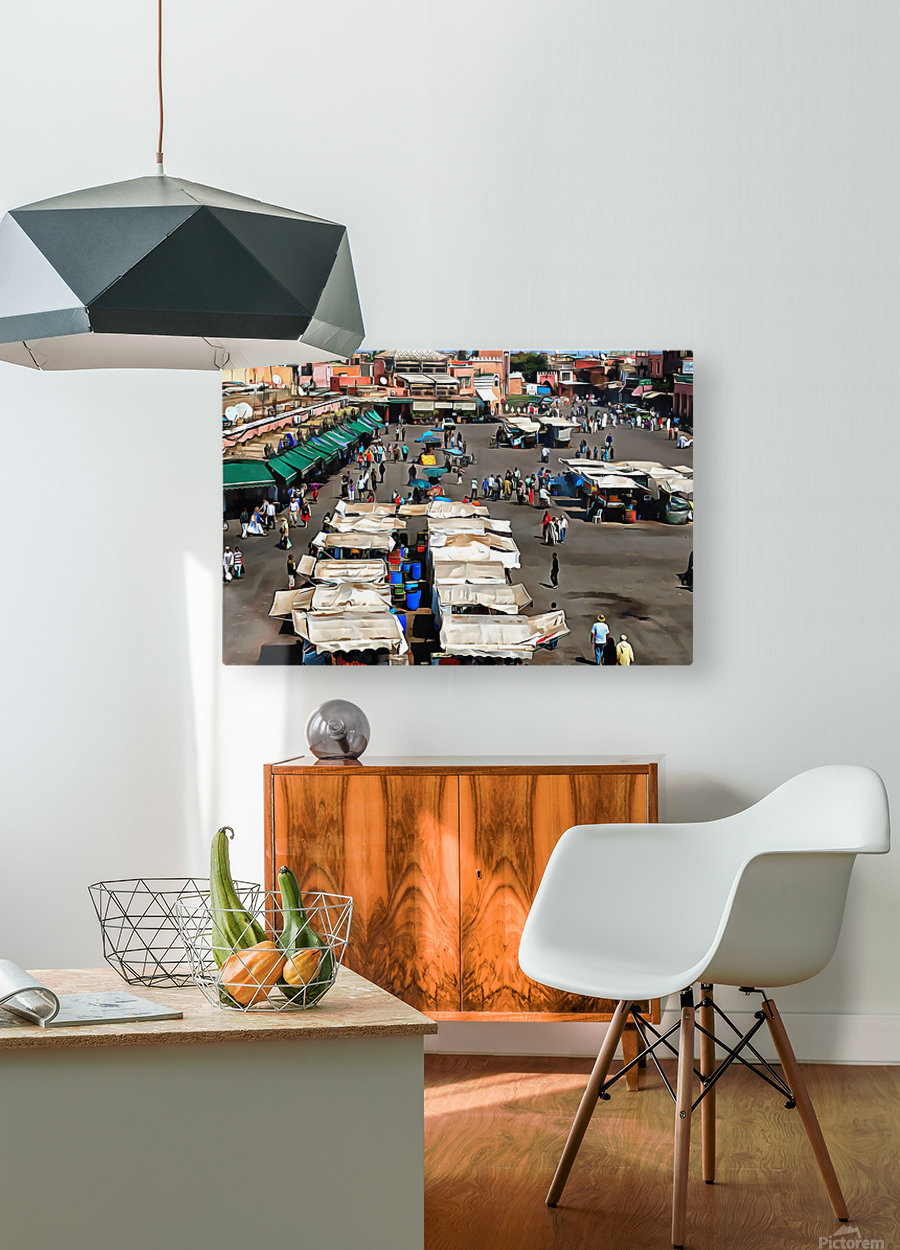 View Over Jemaa el Fnaa 1  HD Metal print with Floating Frame on Back