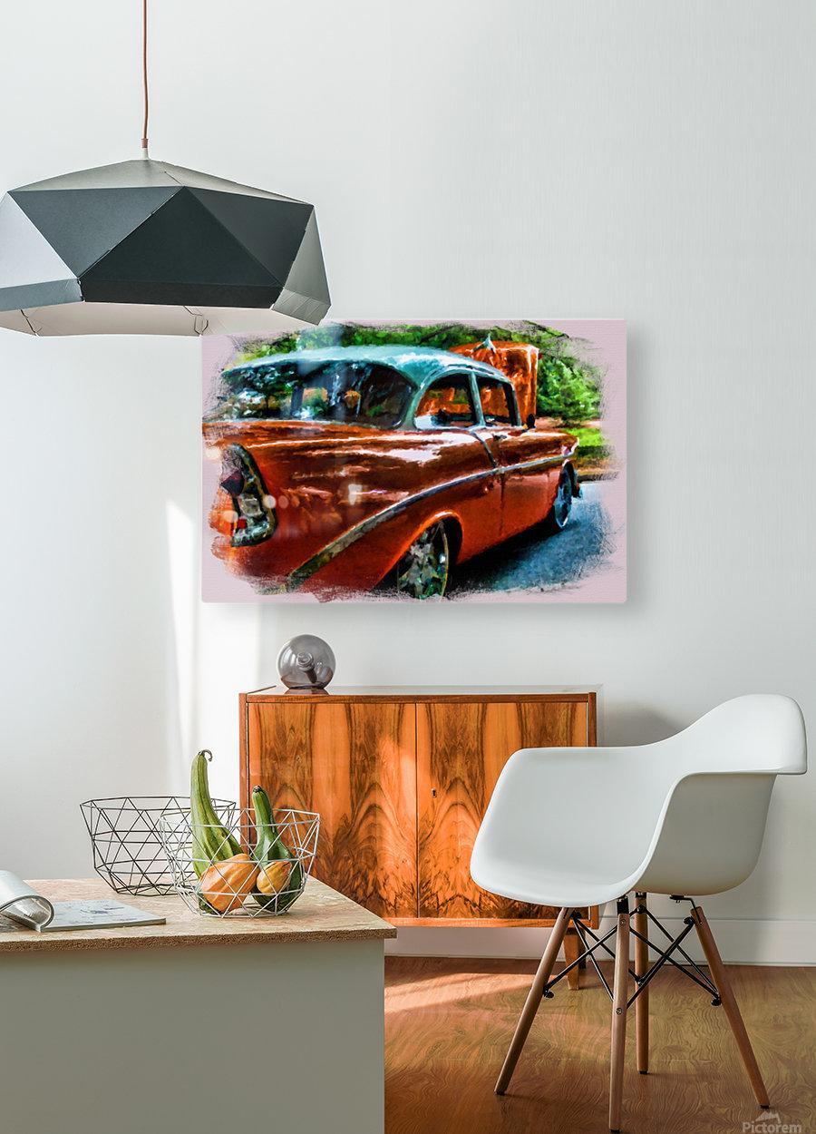 Classic Orange Car in Park Painting  Impression métal HD avec cadre flottant sur le dos