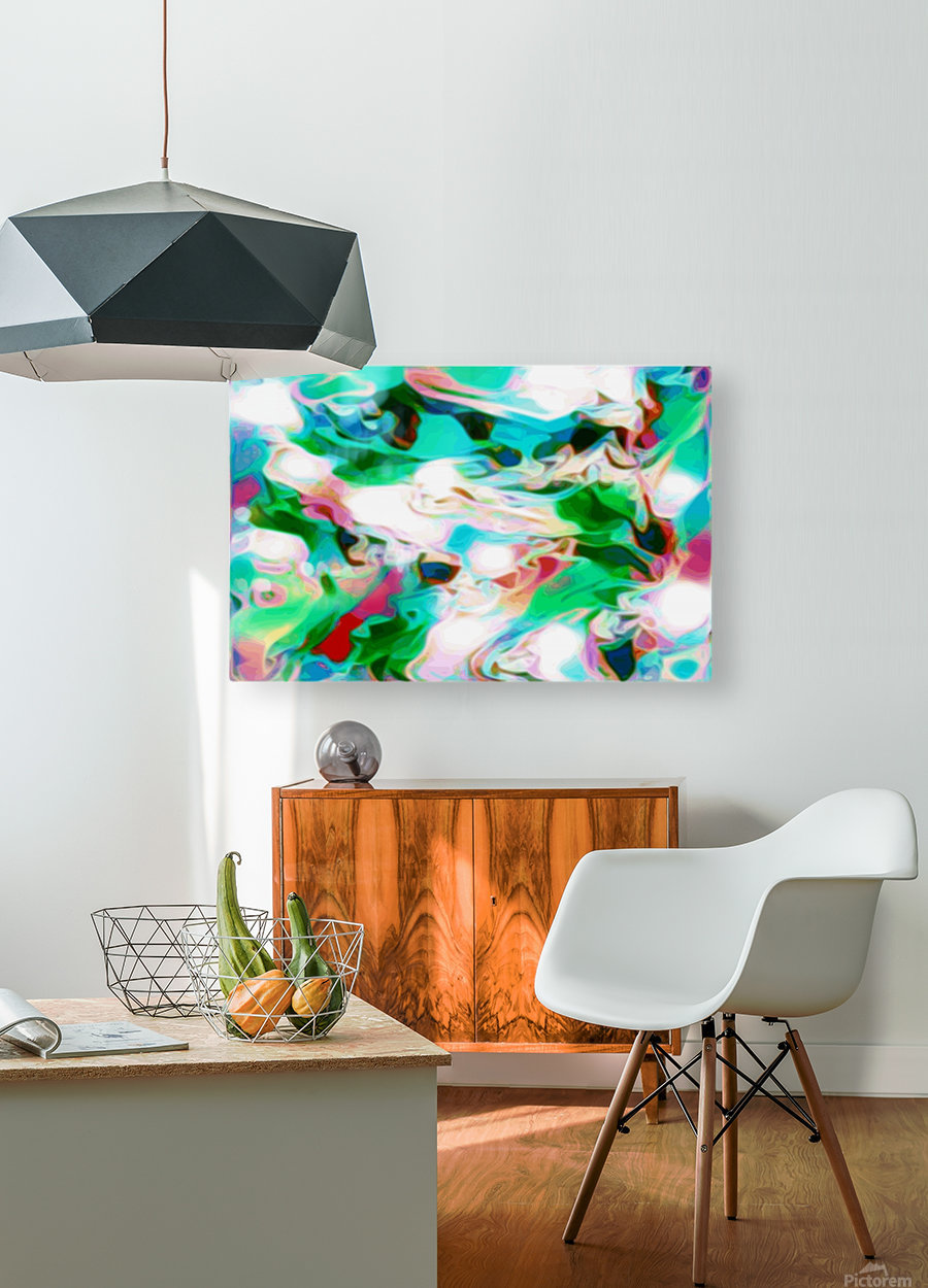 Waterfall - multicolor abstract swirls  HD Metal print with Floating Frame on Back