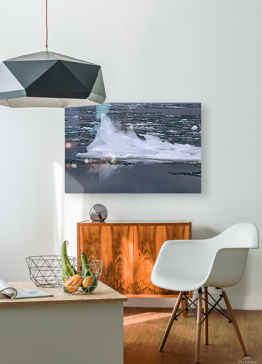 Jagged Ice on the River 2 021619  HD Metal print with Floating Frame on Back