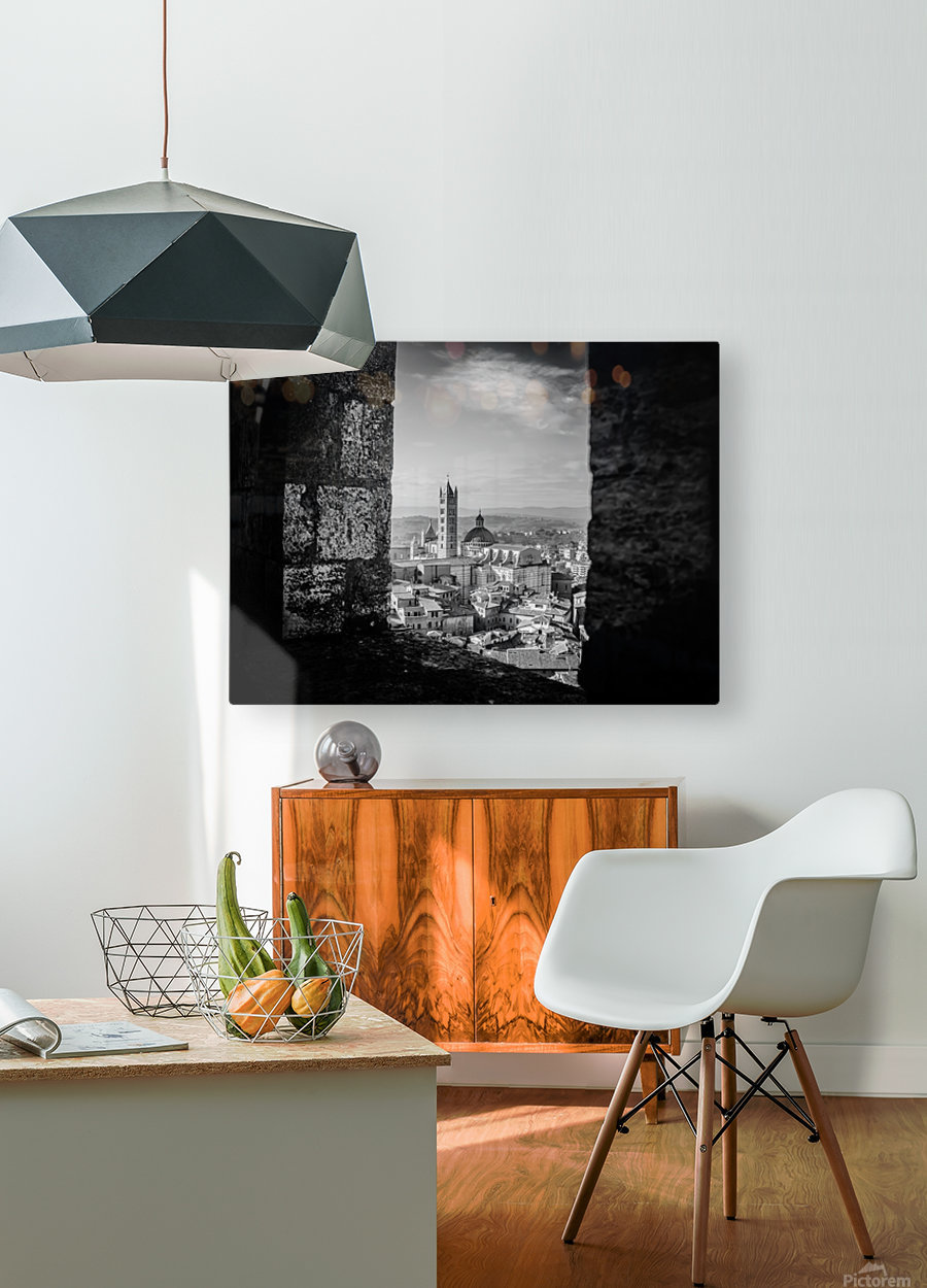 Bnw Siena Tower  HD Metal print with Floating Frame on Back