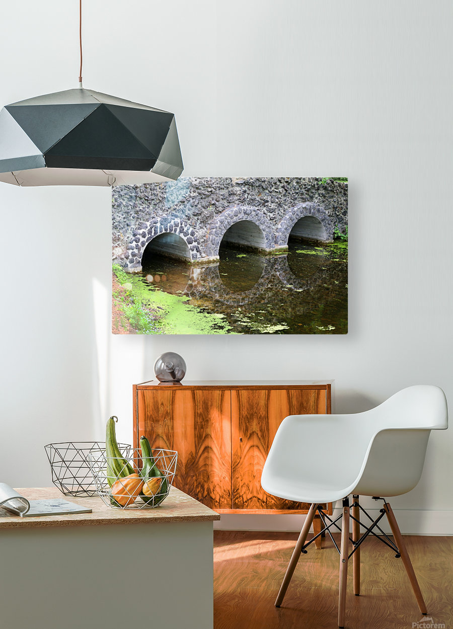 Stone Bridge and Reflection 4 Dow Gardens 3 062618  HD Metal print with Floating Frame on Back