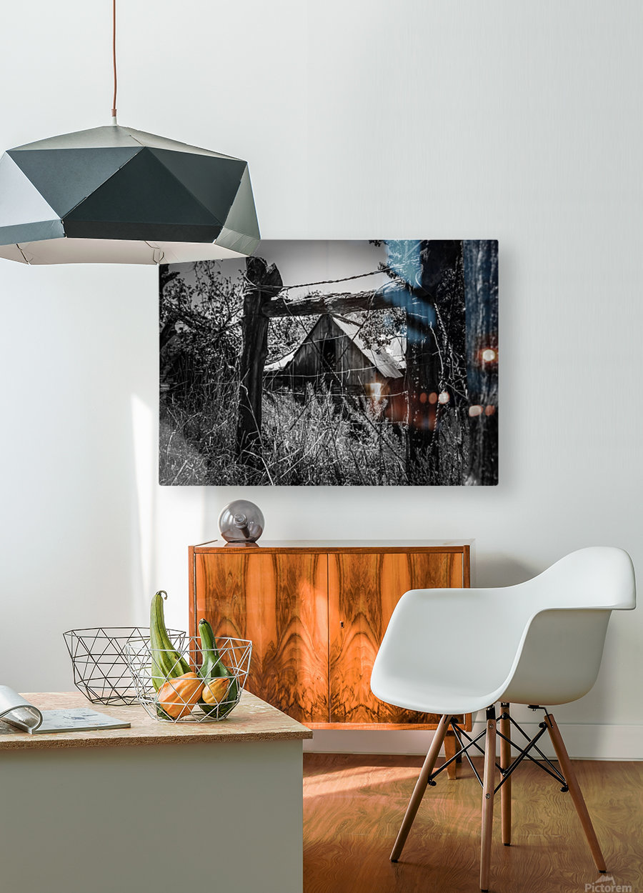 Abandoned Black and White  HD Metal print with Floating Frame on Back