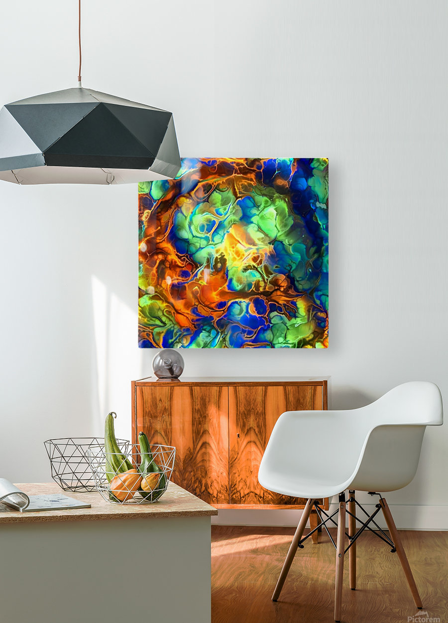 Colorful Fluids  HD Metal print with Floating Frame on Back