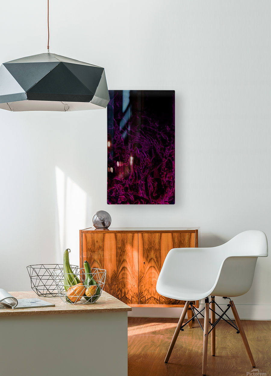 Drowning In Rubies -red hot pink black gradient abstract polygons and swirls  HD Metal print with Floating Frame on Back