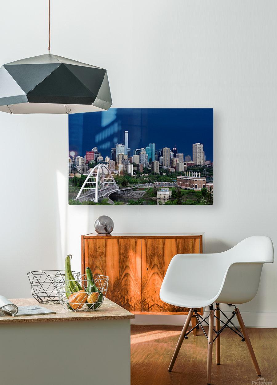 Edmonton Skyline & Thunderstorm...  HD Metal print with Floating Frame on Back