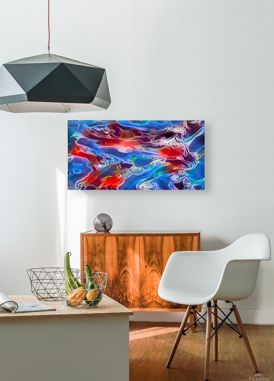Blue Flames - multicolor abstract swirls  HD Metal print with Floating Frame on Back