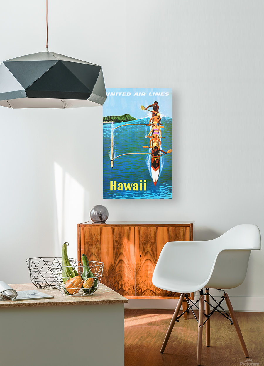 HAWAII TRAVEL POSTER  HD Metal print with Floating Frame on Back