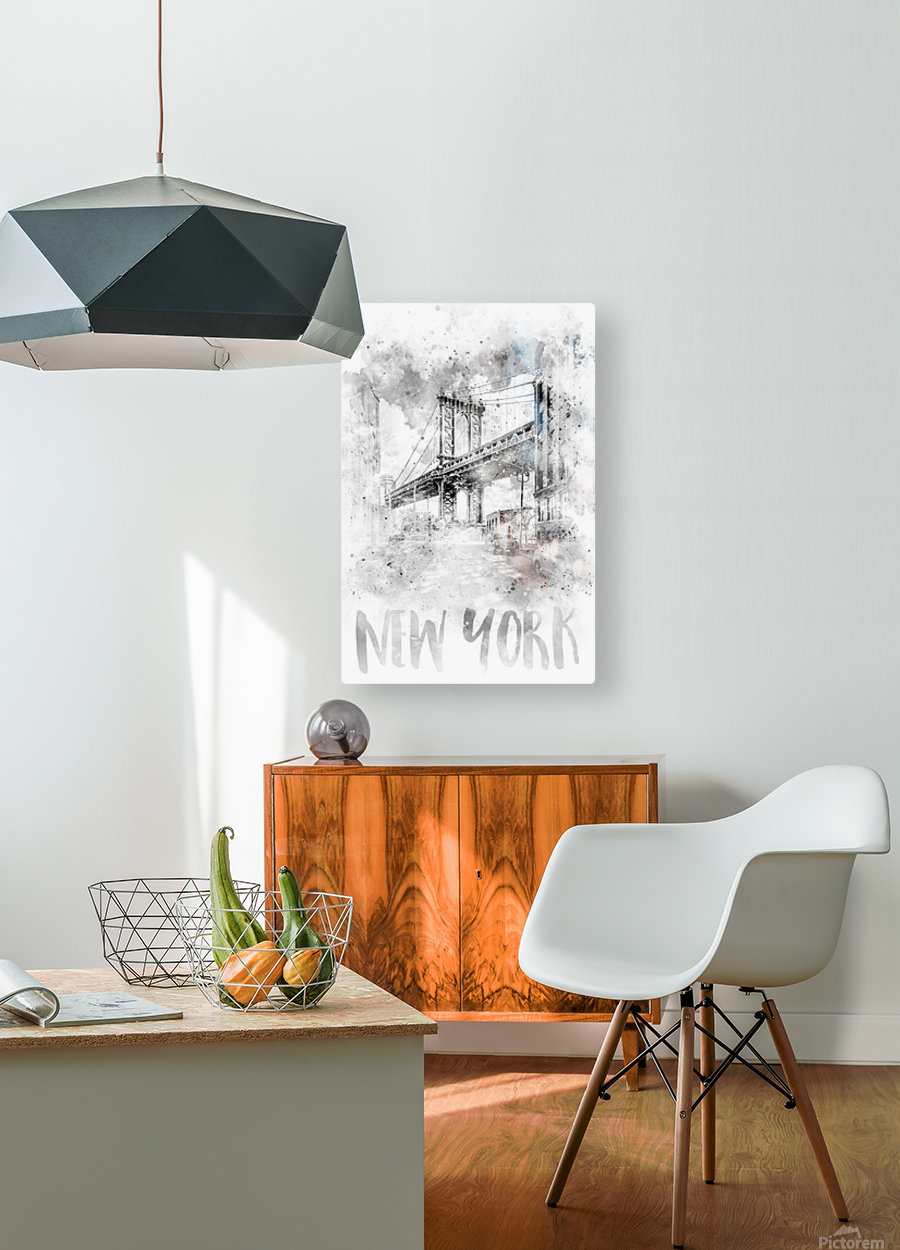 Monochrome Art NYC Manhattan Bridge | watercolor  HD Metal print with Floating Frame on Back