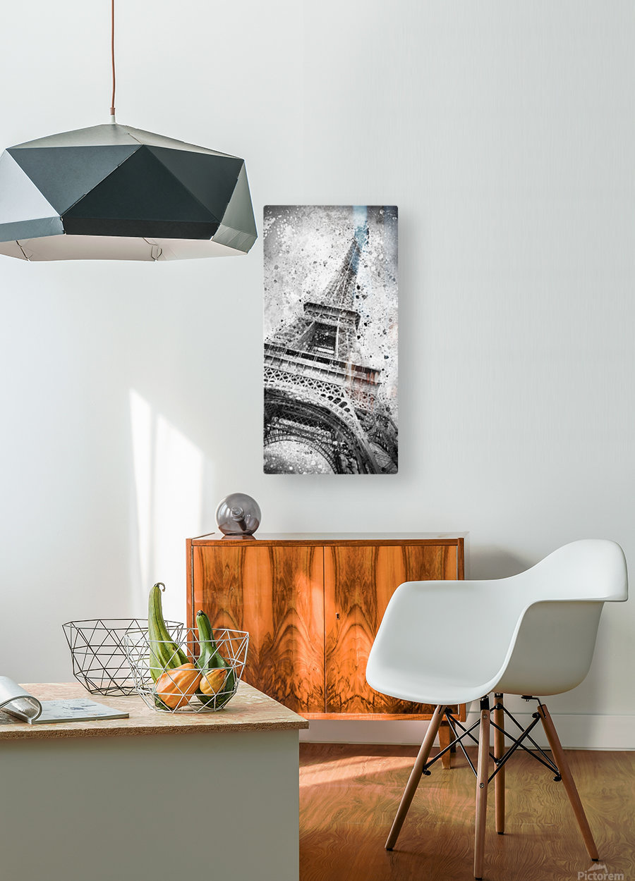 Monochrome Art EIFFEL TOWER   HD Metal print with Floating Frame on Back