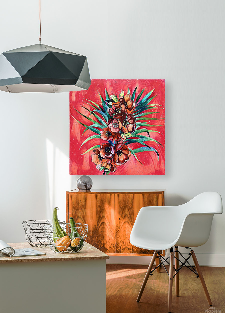 Vibrant Colors Tropical Floral  HD Metal print with Floating Frame on Back