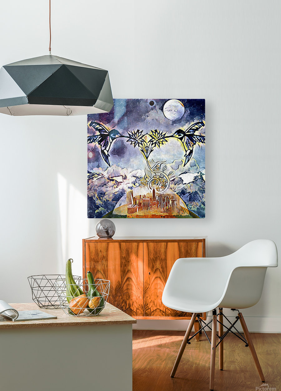 Two hummingbirds in the sky eating nectar nearby a domed city  HD Metal print with Floating Frame on Back