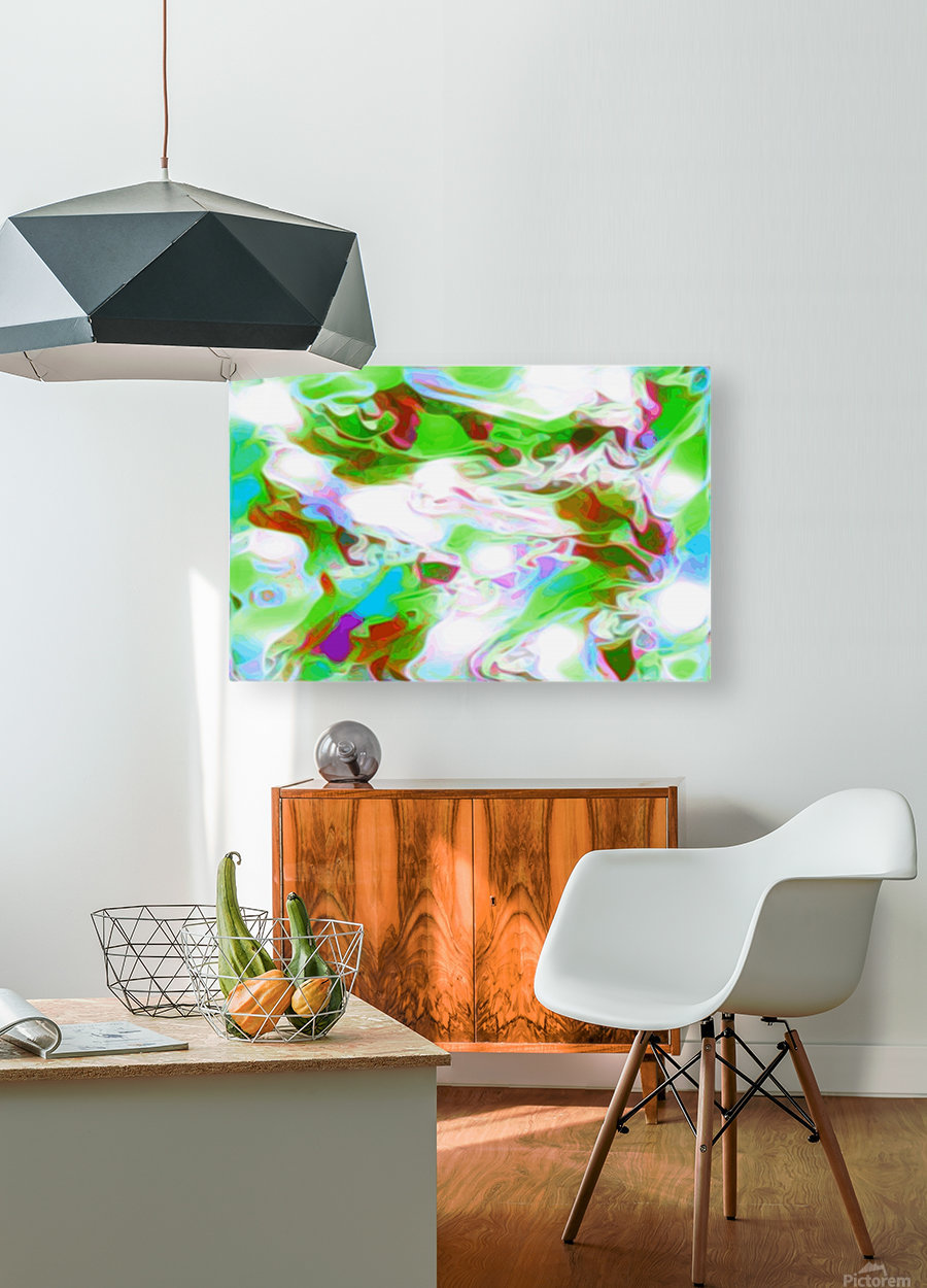 Green Glass Window - multicolor abstract swirls wall art  HD Metal print with Floating Frame on Back