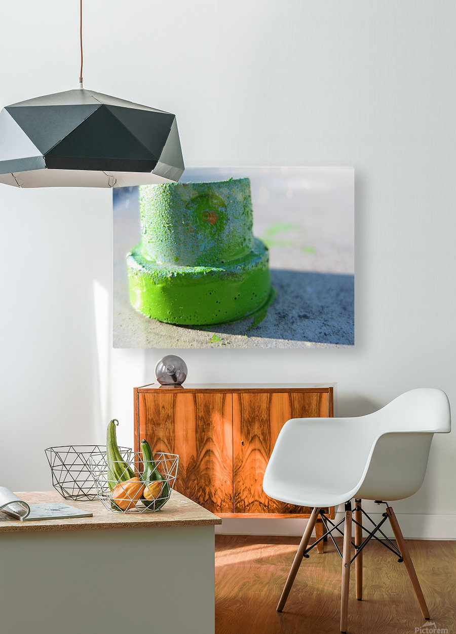 GREEN CAP  HD Metal print with Floating Frame on Back