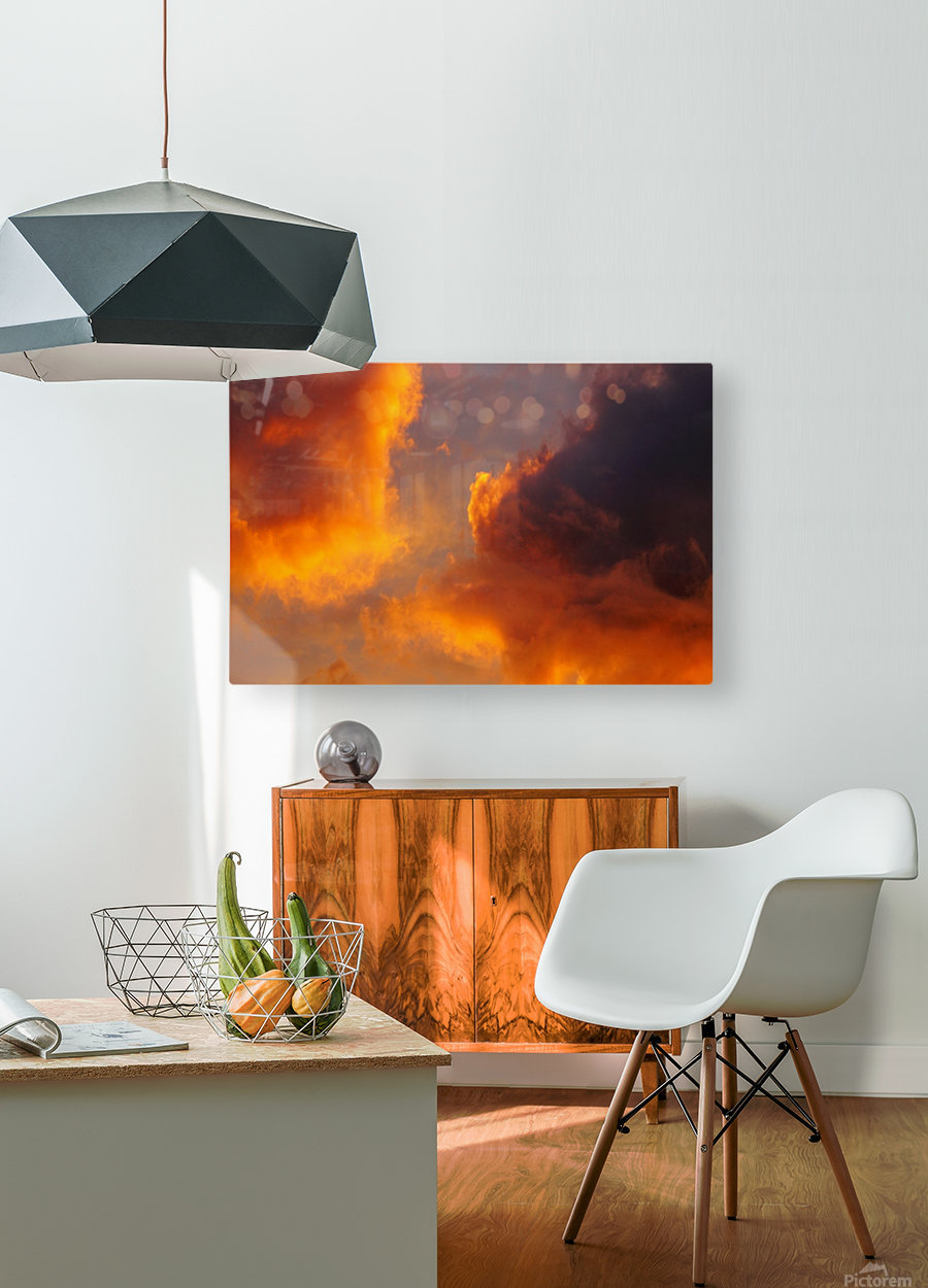 Golden Cloudscape 01  HD Metal print with Floating Frame on Back