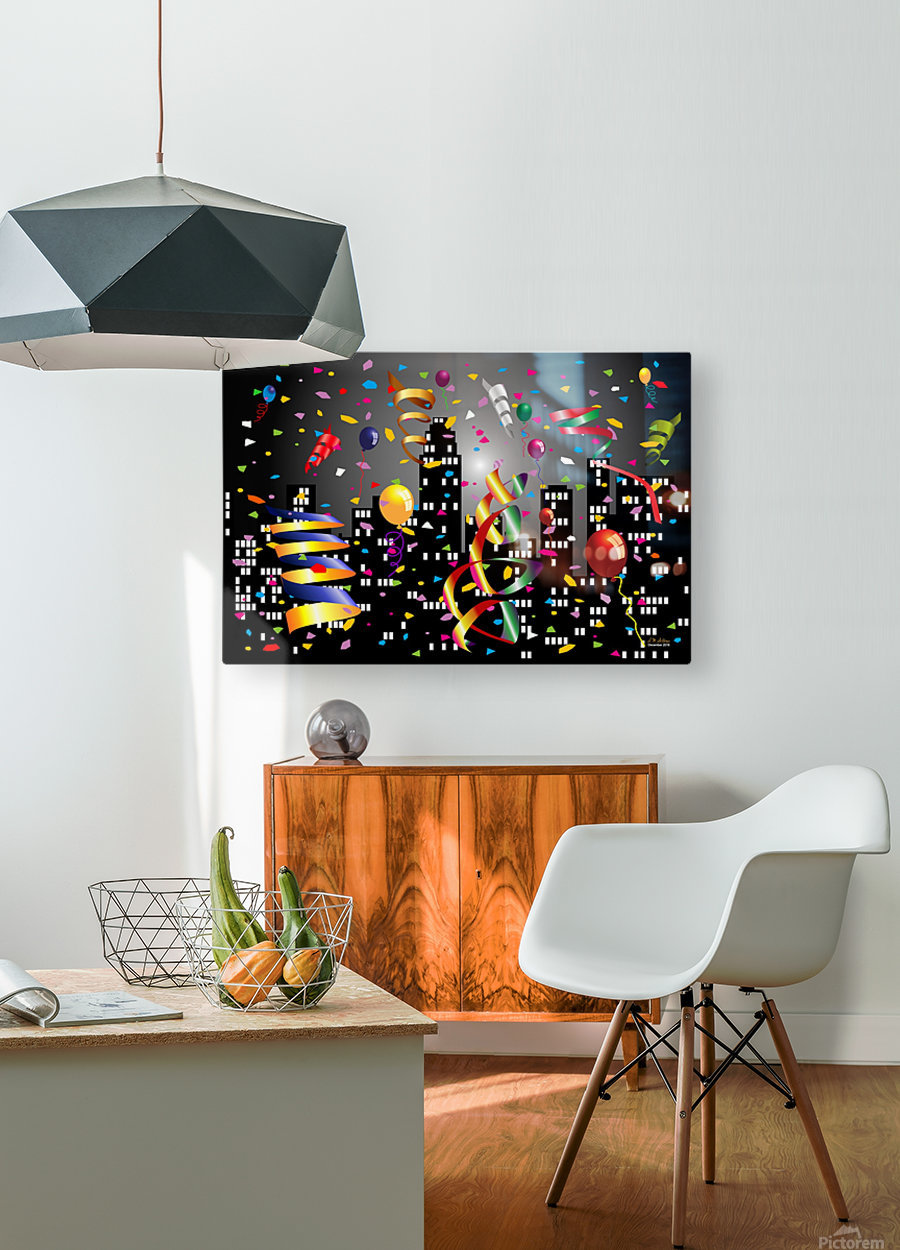1-Nighttime Celebration in the Big City  HD Metal print with Floating Frame on Back
