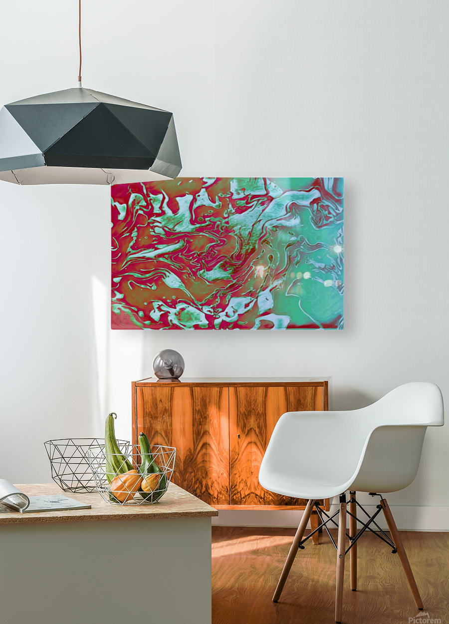 Fire and Ice - turquoise red gradient abstract swirl wall art  HD Metal print with Floating Frame on Back