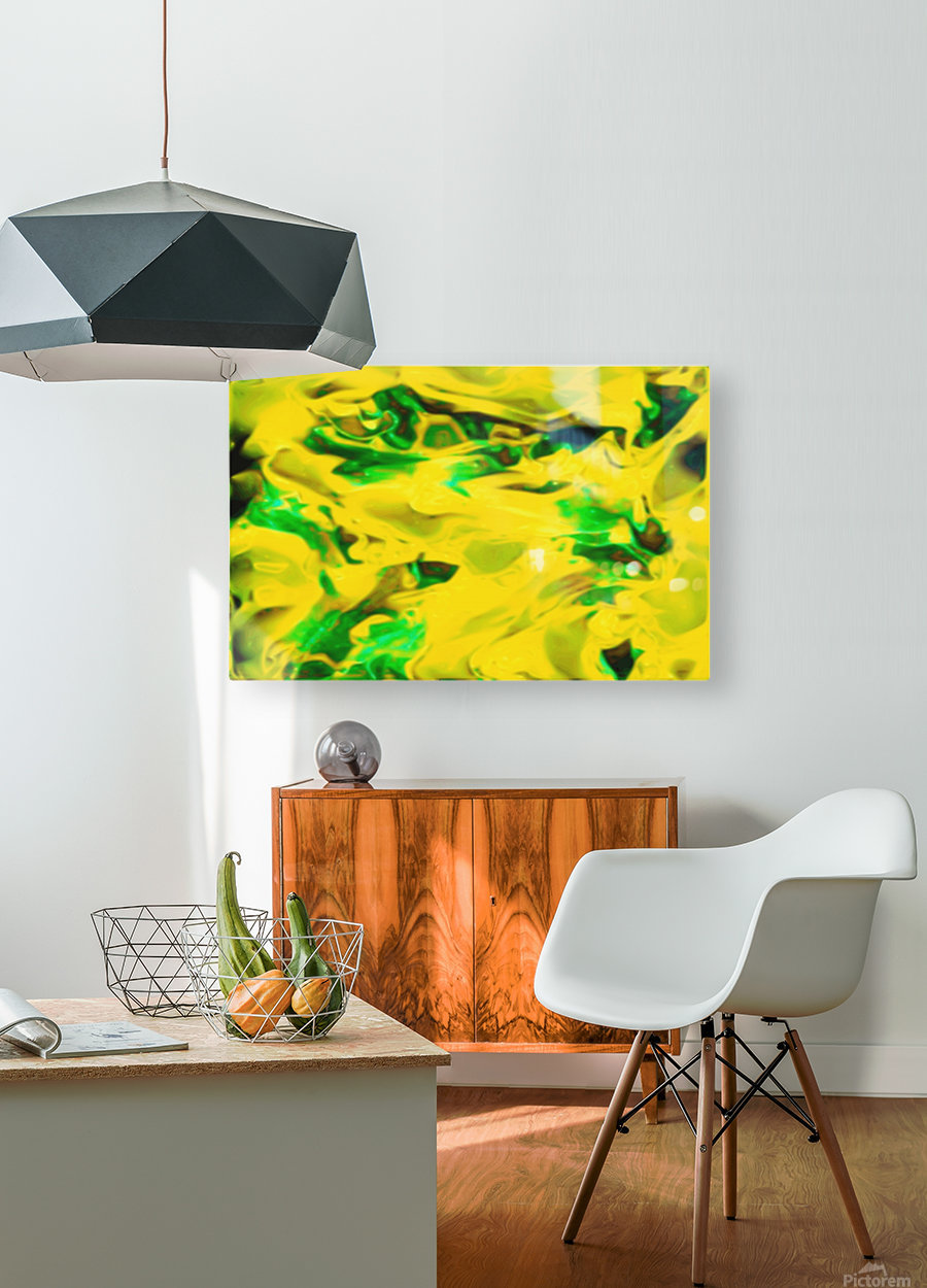 Golden Synchronicities - gold green abstract swirl wall art  HD Metal print with Floating Frame on Back