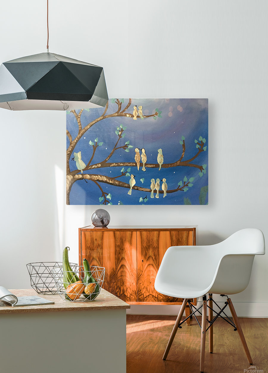 Birds on a limb  HD Metal print with Floating Frame on Back