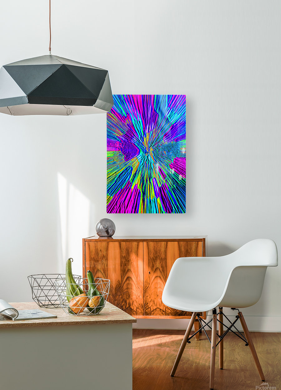 Shattered Glass - Radial Blue  HD Metal print with Floating Frame on Back