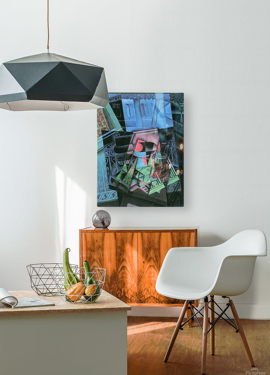 Still life and urban landscape (Place Ravignan) by Juan Gris  HD Metal print with Floating Frame on Back