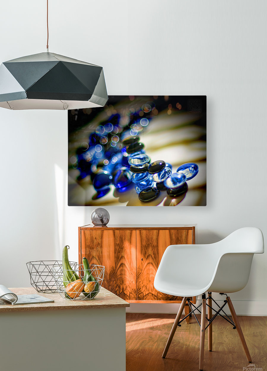 Blue Mosaic Glass Gems  HD Metal print with Floating Frame on Back