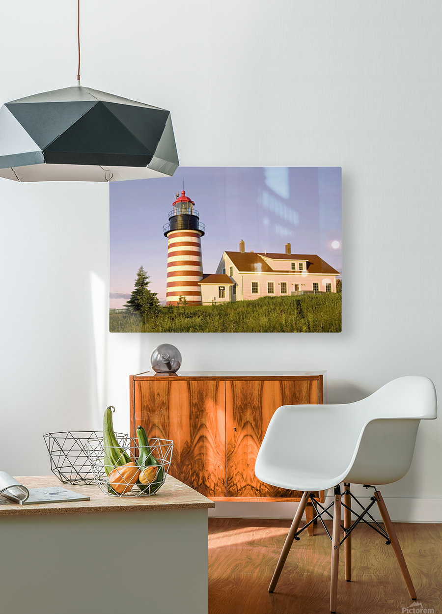 Dawn At Quoddy Head Light  HD Metal print with Floating Frame on Back