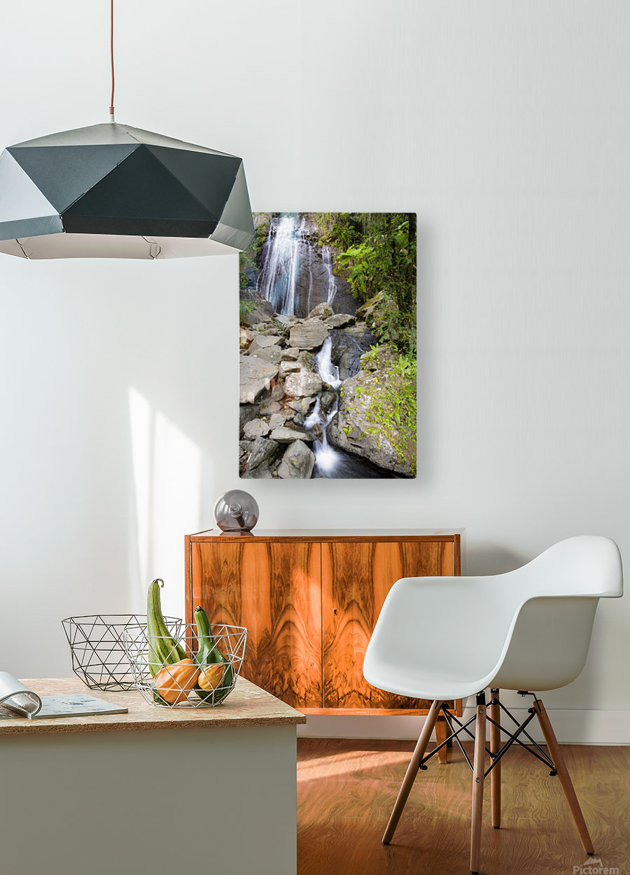 El Junque Waterfall  HD Metal print with Floating Frame on Back
