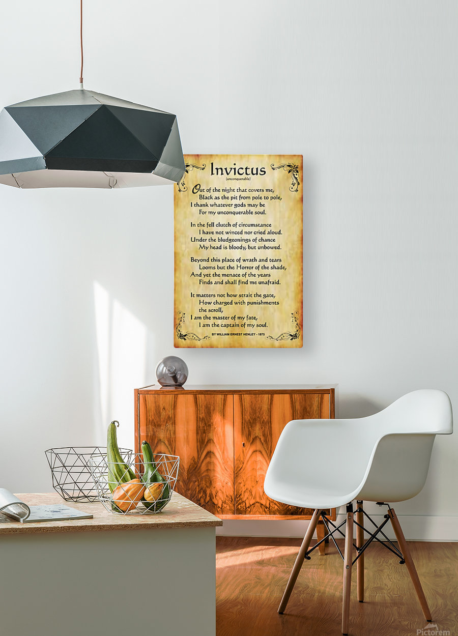 2-Invictus Poem  HD Metal print with Floating Frame on Back