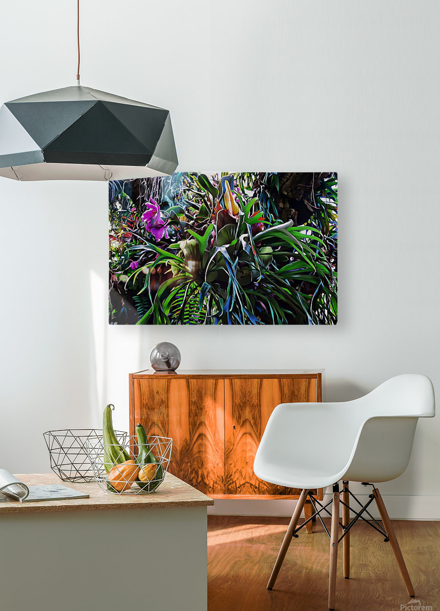 Stag Horn And Orchid Fantasy Garden  HD Metal print with Floating Frame on Back