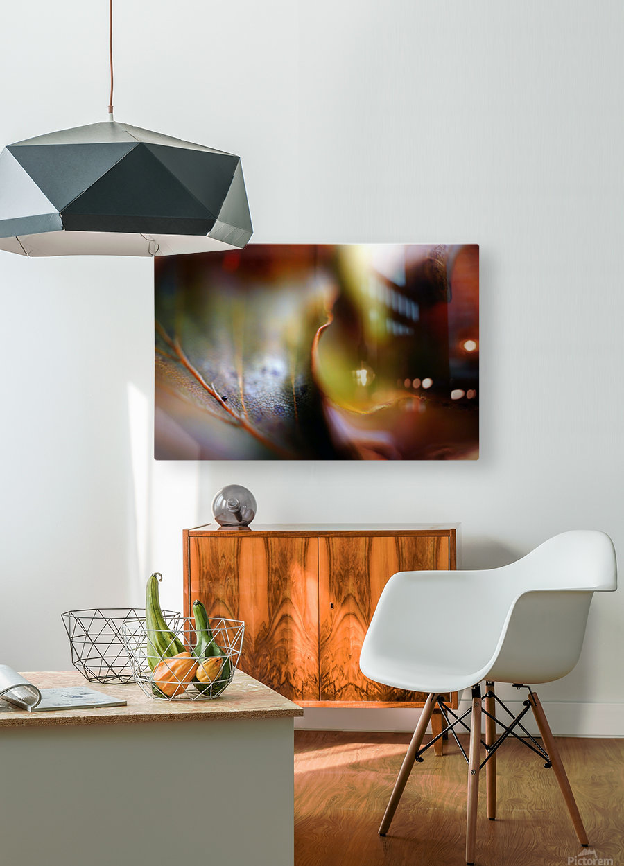 Abstract Mystic and Colourful Leaf 01  HD Metal print with Floating Frame on Back