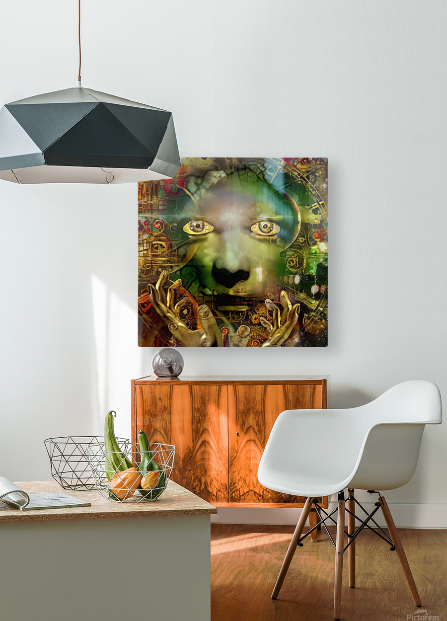 Abstract Face  HD Metal print with Floating Frame on Back