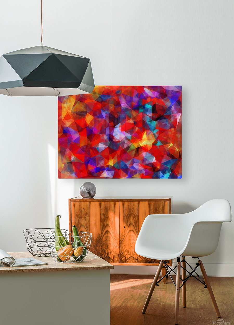 geometric triangle pattern abstract background in red blue yellow  HD Metal print with Floating Frame on Back