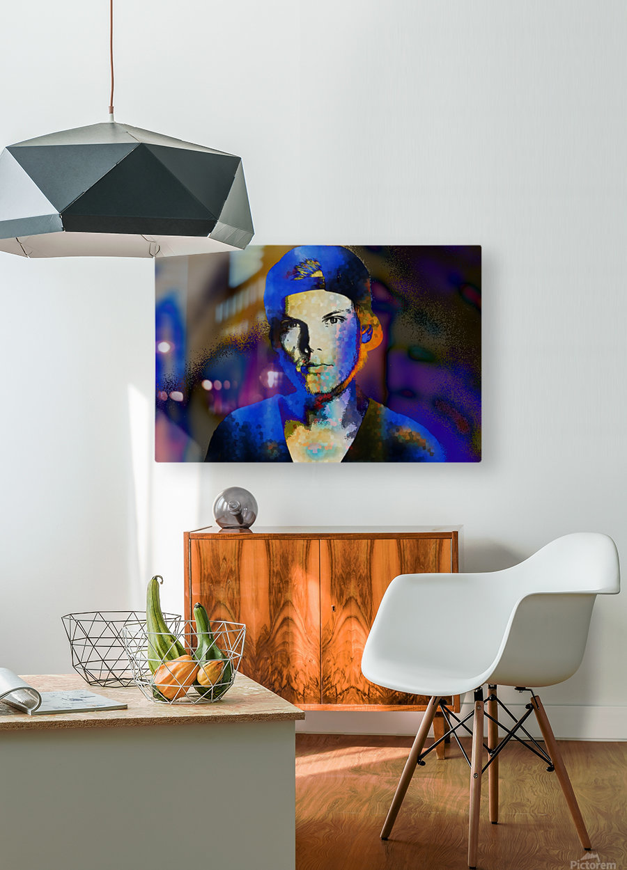 Avicii  Tim Bergling Abstract Portrait  HD Metal print with Floating Frame on Back