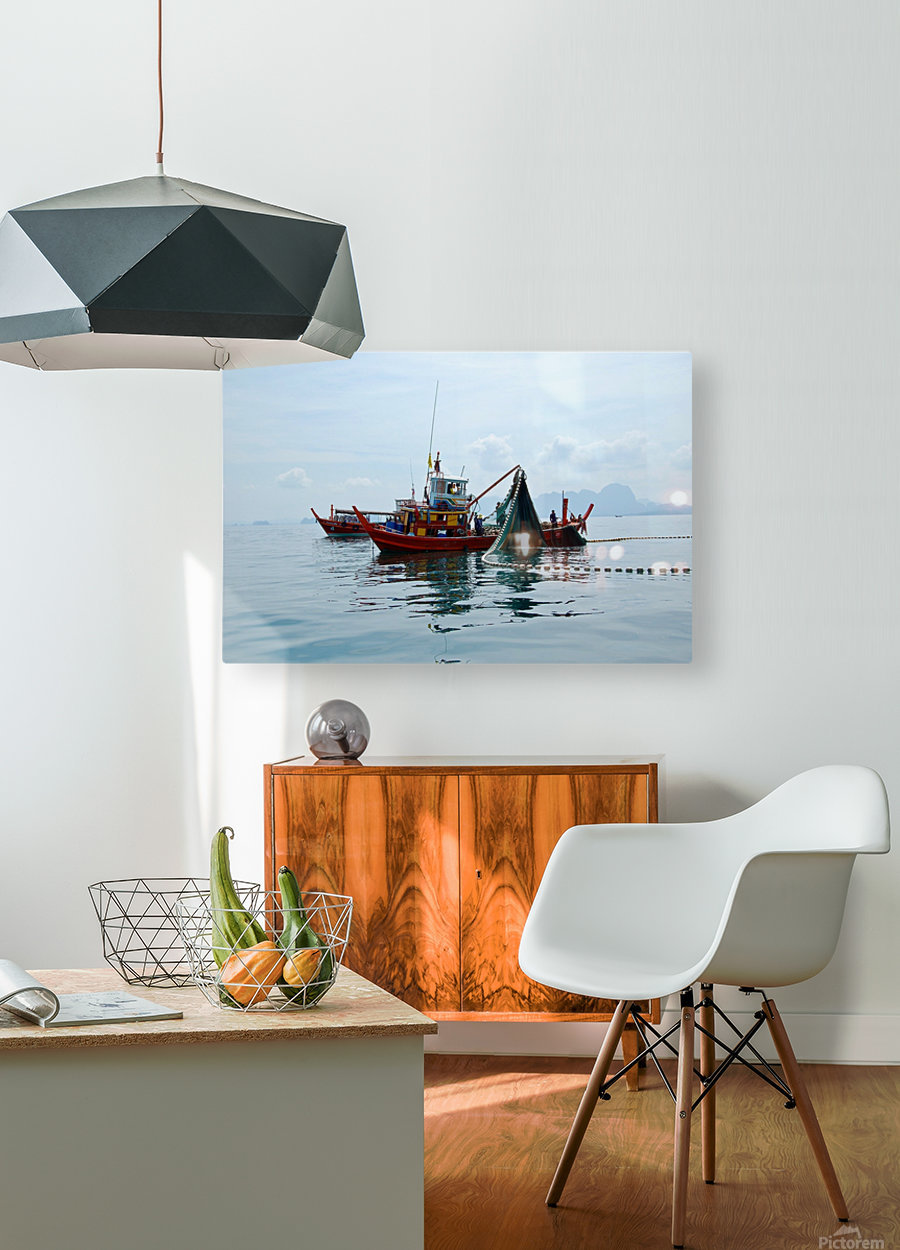 Bangkok - The Fisherman  HD Metal print with Floating Frame on Back