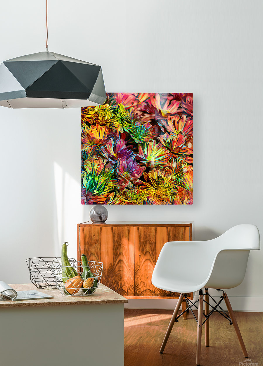 Rainbow Floral  HD Metal print with Floating Frame on Back