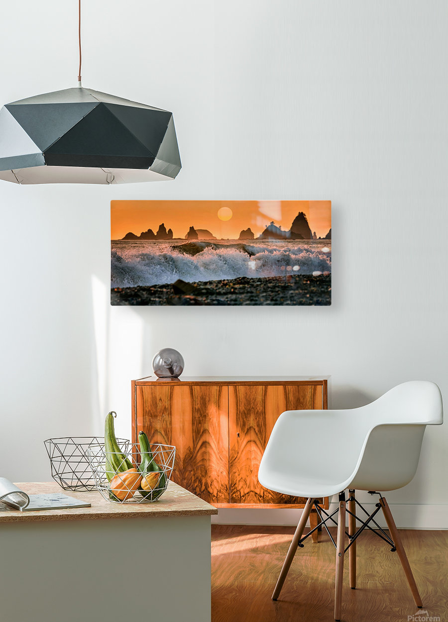 Sea Stacks at Rialto Beach  HD Metal print with Floating Frame on Back