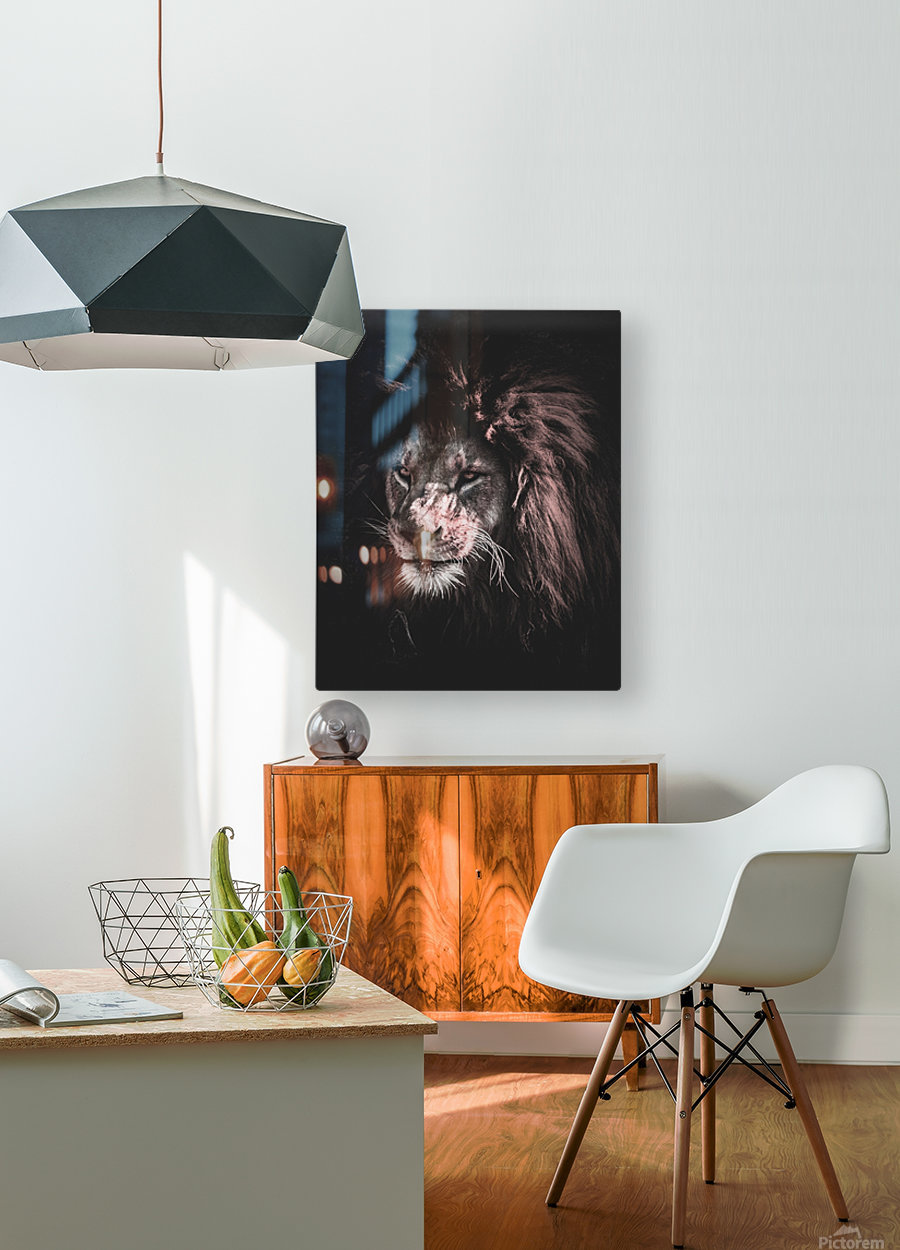 lion painting  HD Metal print with Floating Frame on Back